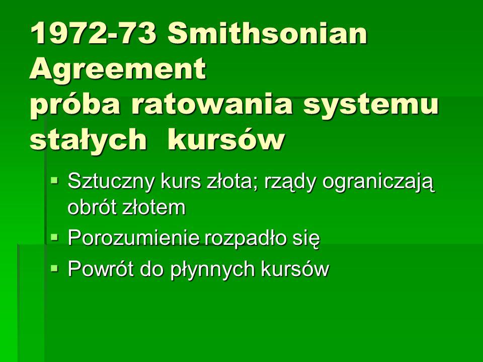 1972-73 Smithsonian Agreement próba ratowania systemu stałych kursów