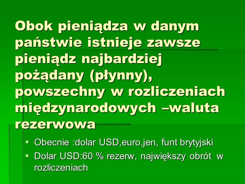 Obok pieniądza w danym państwie istnieje zawsze pieniądz najbardziej pożądany (płynny), powszechny w rozliczeniach międzynarodowych –waluta rezerwowa