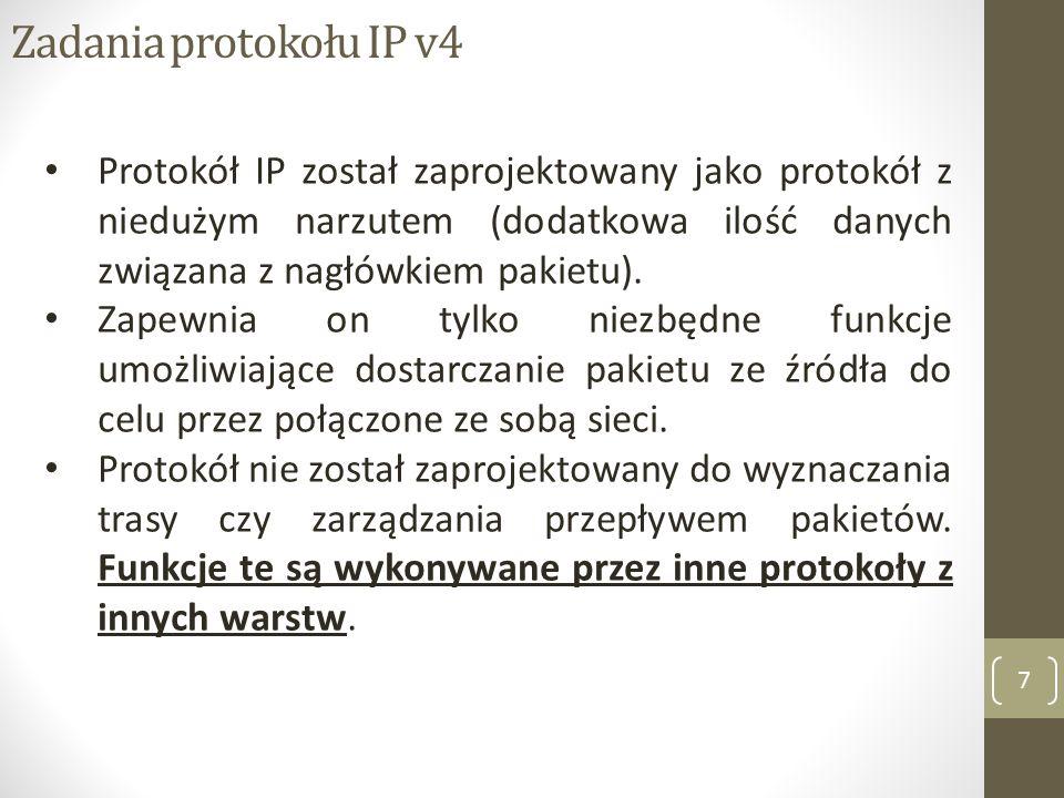 Zadania protokołu IP v4 Protokół IP został zaprojektowany jako protokół z niedużym narzutem (dodatkowa ilość danych związana z nagłówkiem pakietu).