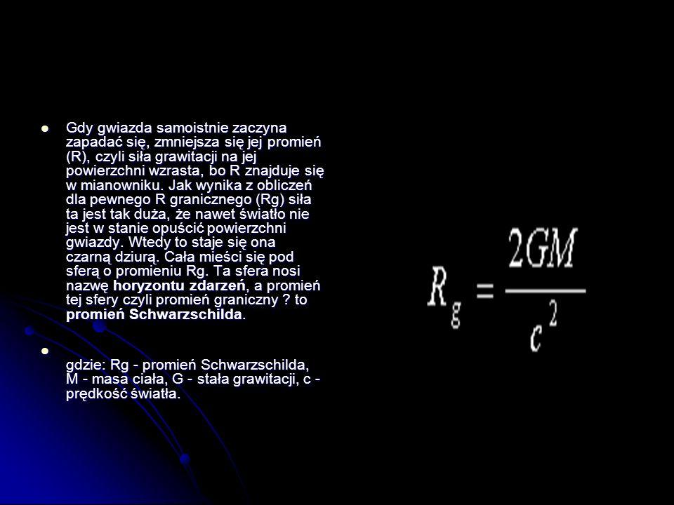Gdy gwiazda samoistnie zaczyna zapadać się, zmniejsza się jej promień (R), czyli siła grawitacji na jej powierzchni wzrasta, bo R znajduje się w mianowniku. Jak wynika z obliczeń dla pewnego R granicznego (Rg) siła ta jest tak duża, że nawet światło nie jest w stanie opuścić powierzchni gwiazdy. Wtedy to staje się ona czarną dziurą. Cała mieści się pod sferą o promieniu Rg. Ta sfera nosi nazwę horyzontu zdarzeń, a promień tej sfery czyli promień graniczny to promień Schwarzschilda.
