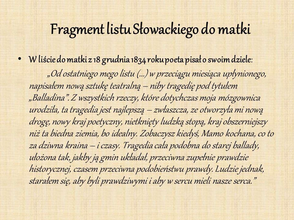 Fragment listu Słowackiego do matki