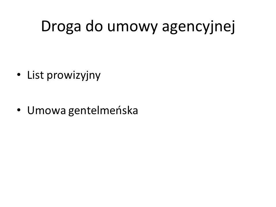 Droga do umowy agencyjnej