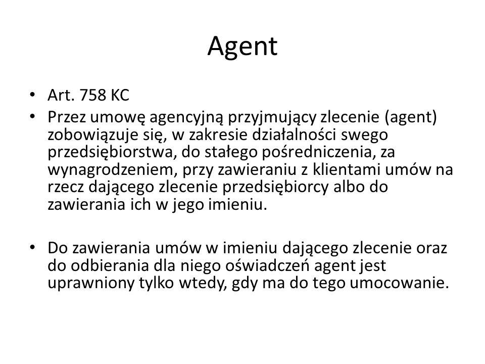 Agent Art. 758 KC.