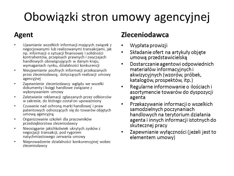 Obowiązki stron umowy agencyjnej