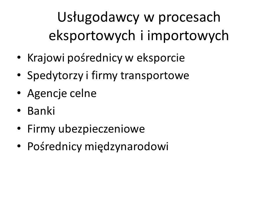 Usługodawcy w procesach eksportowych i importowych