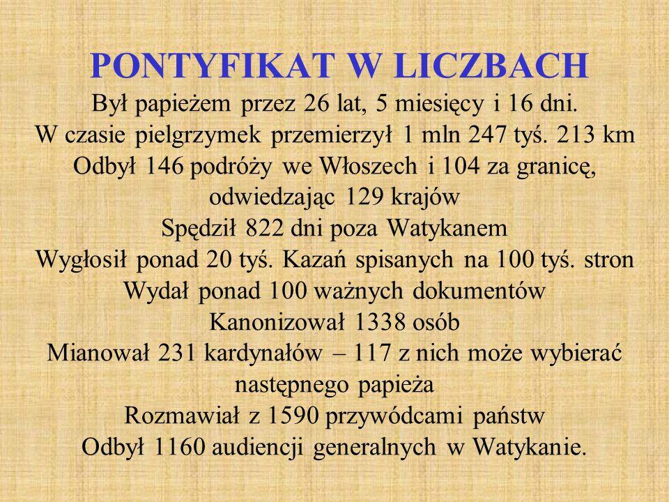 PONTYFIKAT W LICZBACH Był papieżem przez 26 lat, 5 miesięcy i 16 dni