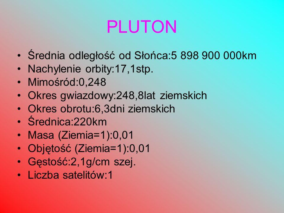 PLUTON Średnia odległość od Słońca:5 898 900 000km