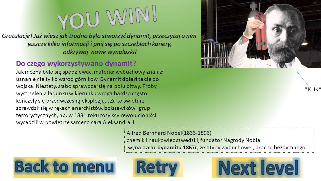 YOU WIN! Do czego wykorzystywano dynamit