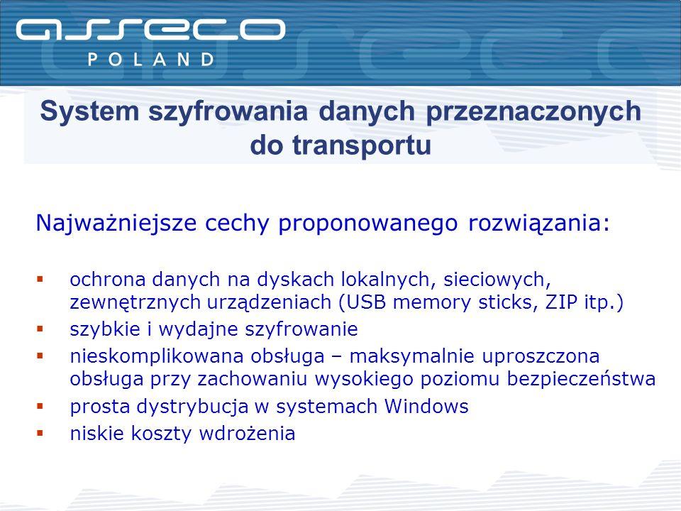 System szyfrowania danych przeznaczonych do transportu