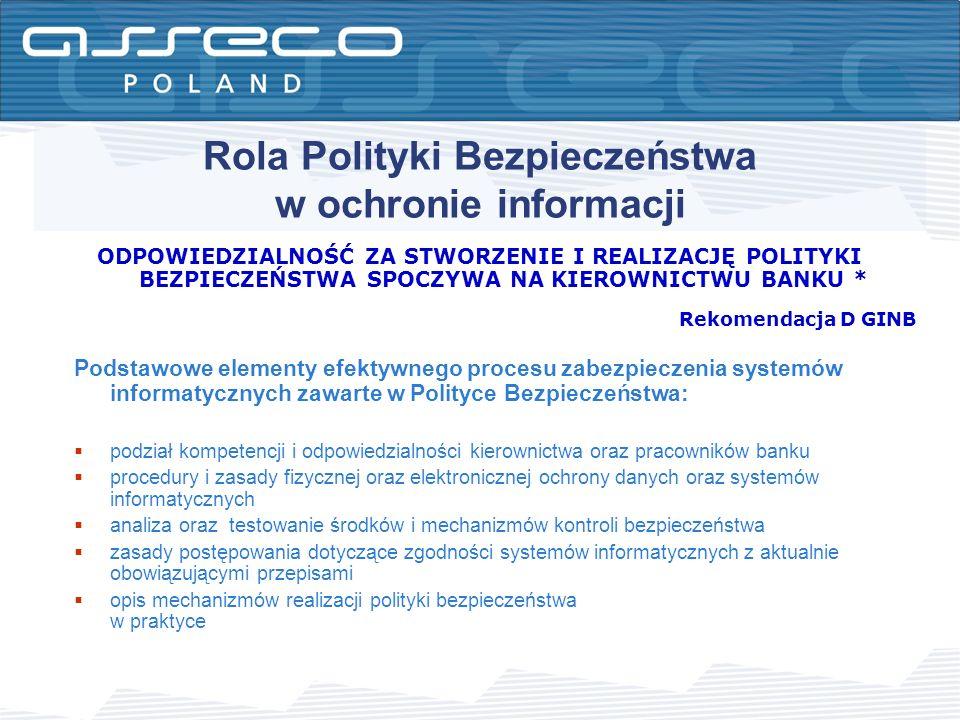 Rola Polityki Bezpieczeństwa w ochronie informacji