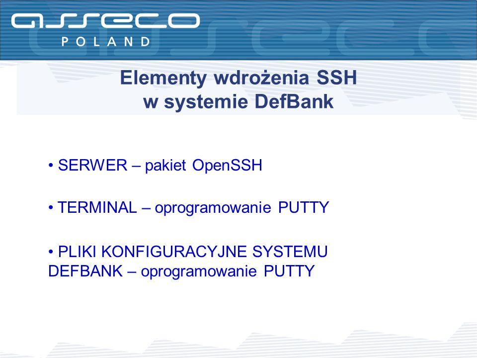 Elementy wdrożenia SSH w systemie DefBank