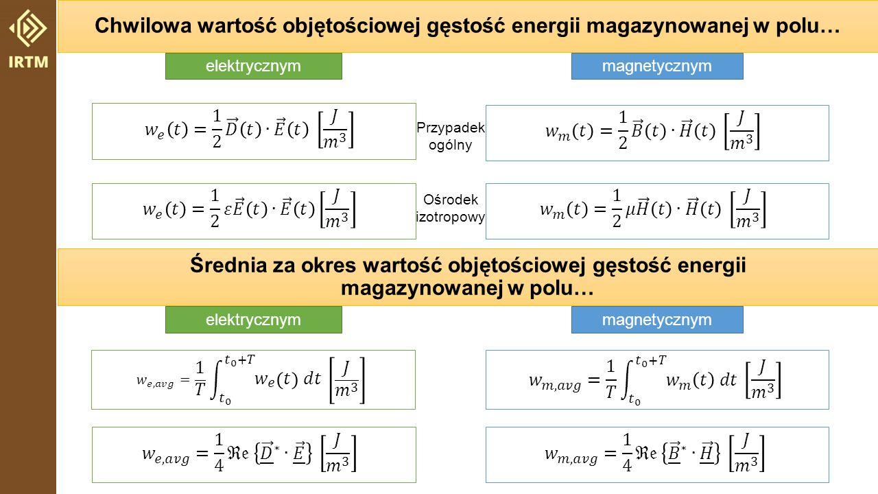 Chwilowa wartość objętościowej gęstość energii magazynowanej w polu…