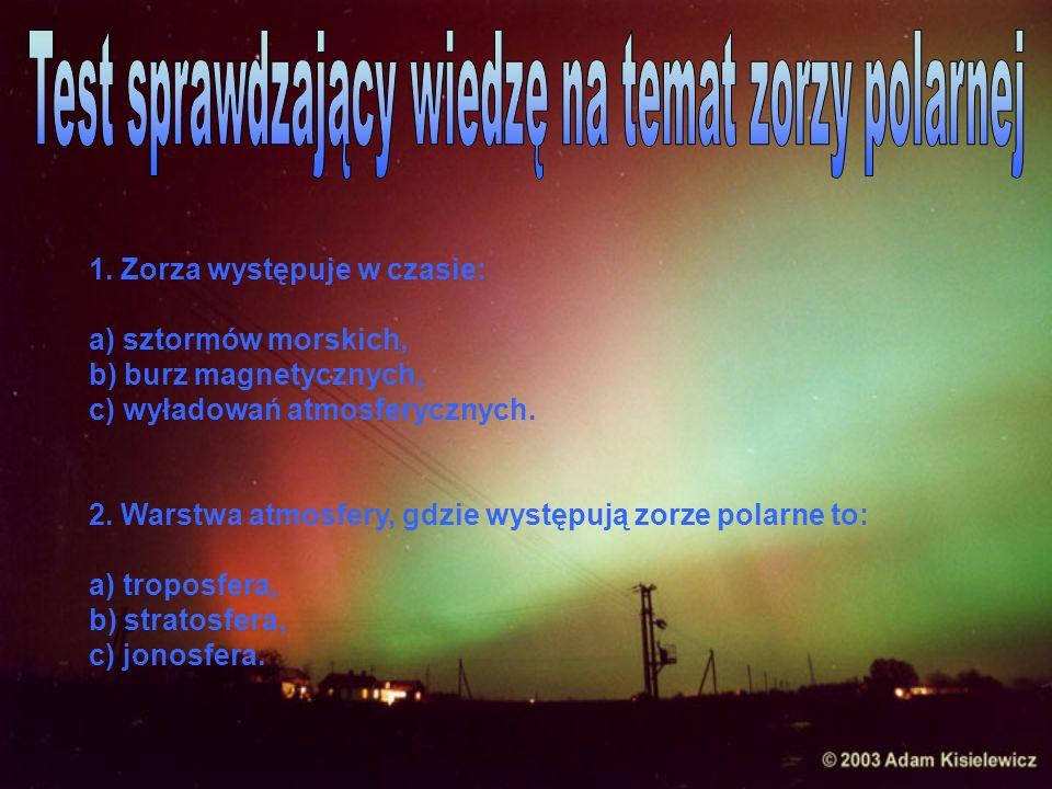 Test sprawdzający wiedzę na temat zorzy polarnej