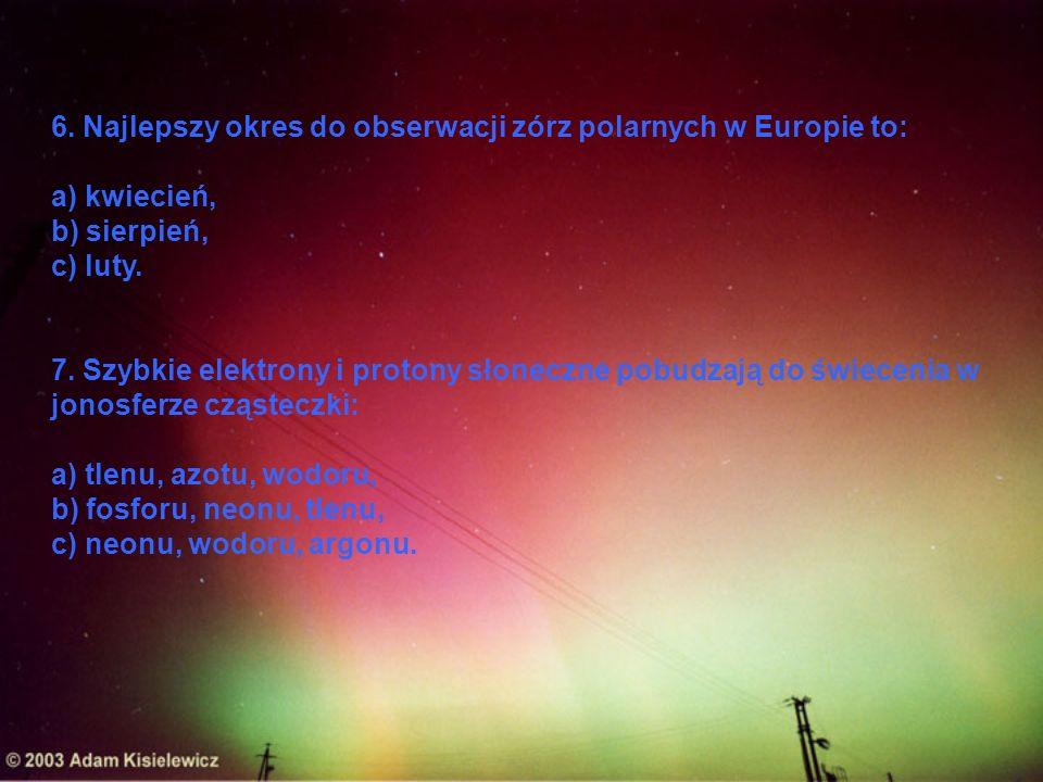 6. Najlepszy okres do obserwacji zórz polarnych w Europie to: