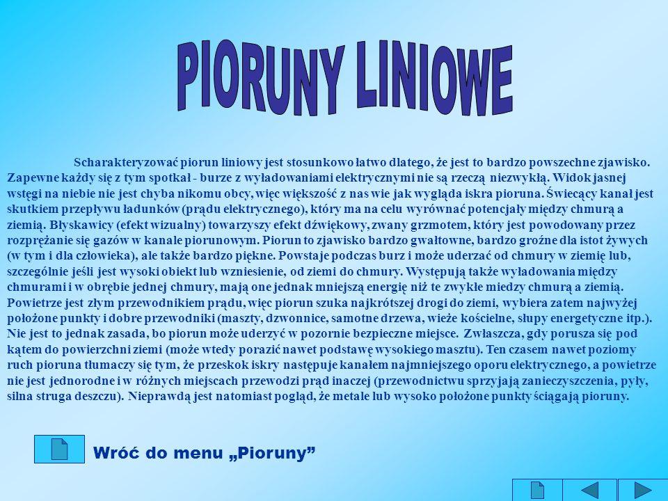 "PIORUNY LINIOWE Wróć do menu ""Pioruny"