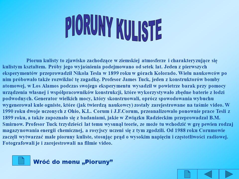 """PIORUNY KULISTE Wróć do menu """"Pioruny"""