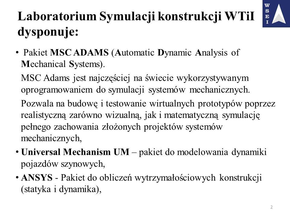 Laboratorium Symulacji konstrukcji WTiI dysponuje: