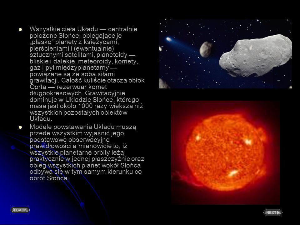 """Wszystkie ciała Układu — centralnie położone Słońce, obiegające je """"płasko planety z księżycami, pierścieniami i (ewentualnie) sztucznymi satelitami, planetoidy — bliskie i dalekie, meteoroidy, komety, gaz i pył międzyplanetarny — powiązane są ze sobą siłami grawitacji. Całość kuliście otacza obłok Oorta — rezerwuar komet długookresowych. Grawitacyjnie dominuje w Układzie Słońce, którego masa jest około 1000 razy większa niż wszystkich pozostałych obiektów Układu."""