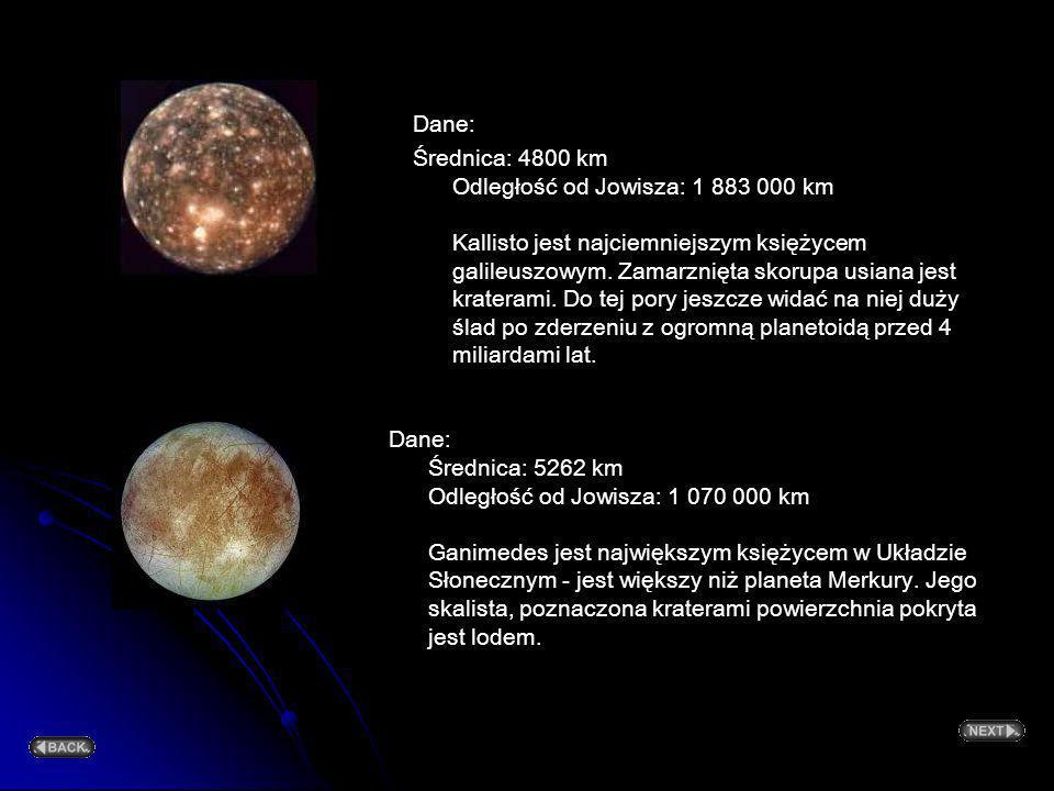 Dane: Średnica: 4800 km Odległość od Jowisza: 1 883 000 km Kallisto jest najciemniejszym księżycem galileuszowym. Zamarznięta skorupa usiana jest kraterami. Do tej pory jeszcze widać na niej duży ślad po zderzeniu z ogromną planetoidą przed 4 miliardami lat.