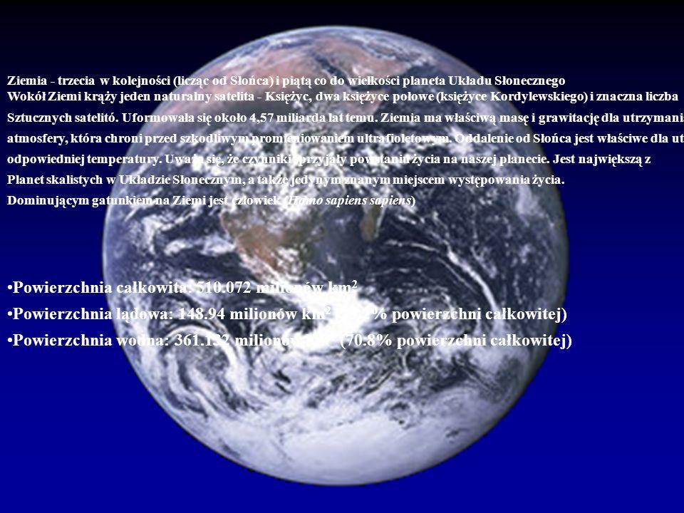 Powierzchnia całkowita: 510.072 milionów km2
