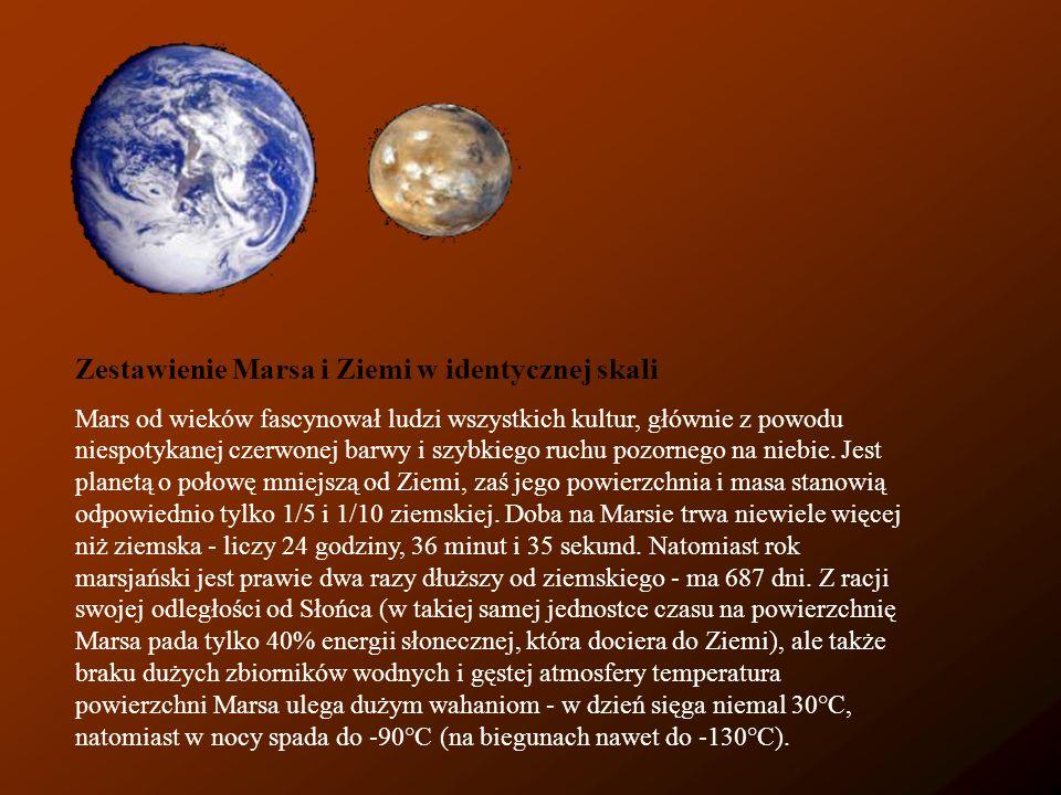Zestawienie Marsa i Ziemi w identycznej skali