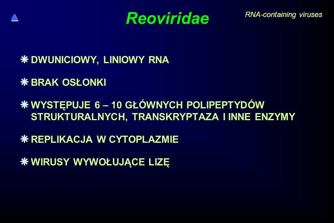 Reoviridae DWUNICIOWY, LINIOWY RNA BRAK OSŁONKI