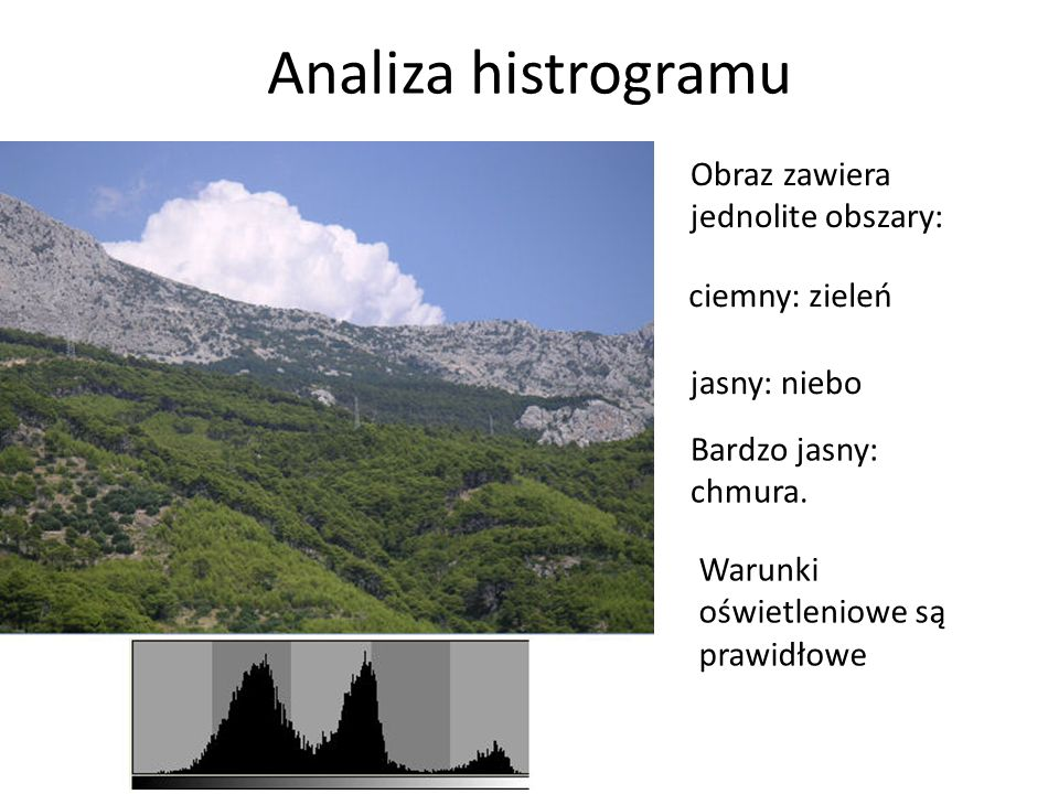 Analiza histrogramu Obraz zawiera jednolite obszary: ciemny: zieleń