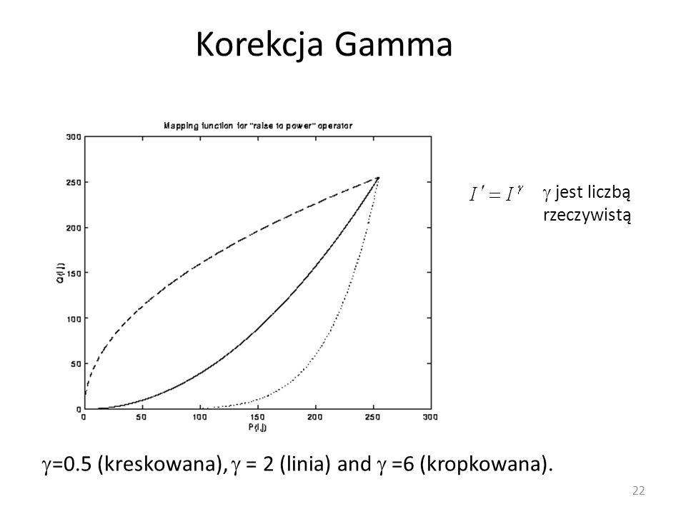 Korekcja Gamma  jest liczbą rzeczywistą =0.5 (kreskowana),  = 2 (linia) and  =6 (kropkowana).