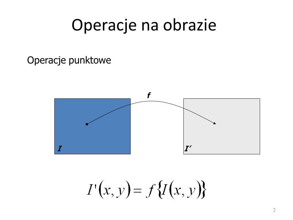 Operacje na obrazie Operacje punktowe f I I'
