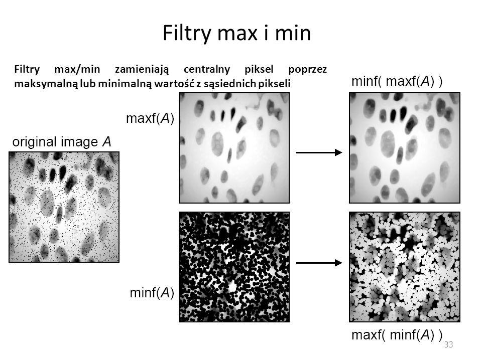 Filtry max i min Filtry max/min zamieniają centralny piksel poprzez maksymalną lub minimalną wartość z sąsiednich pikseli.