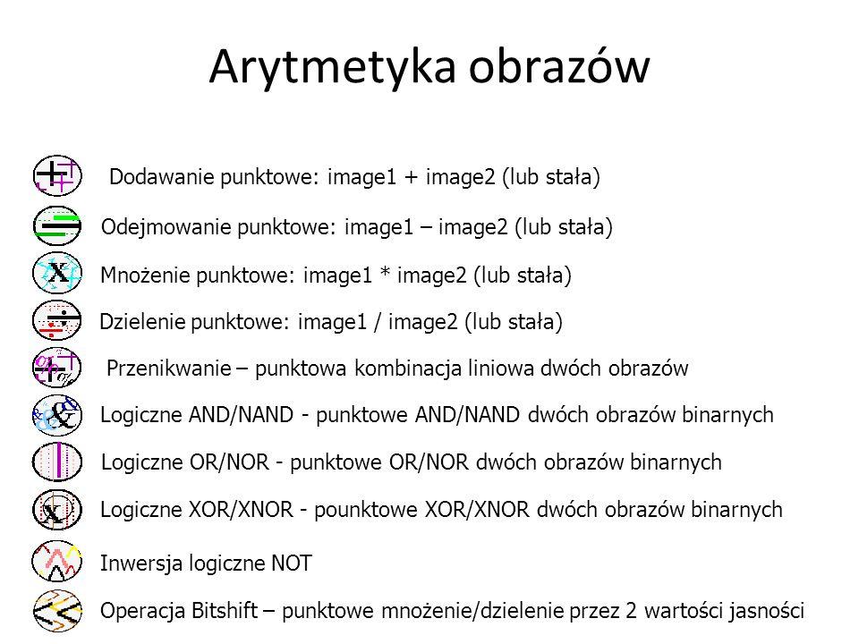 Arytmetyka obrazów Dodawanie punktowe: image1 + image2 (lub stała)