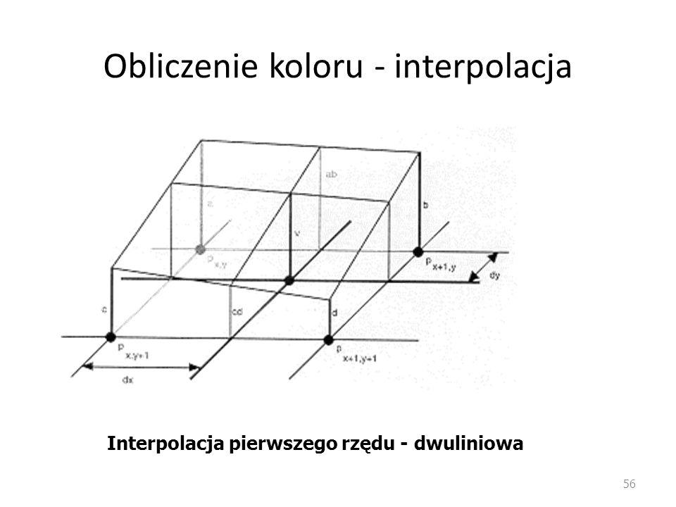 Obliczenie koloru - interpolacja