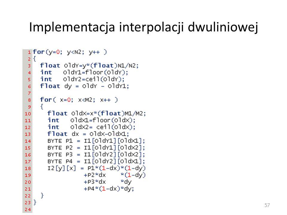 Implementacja interpolacji dwuliniowej
