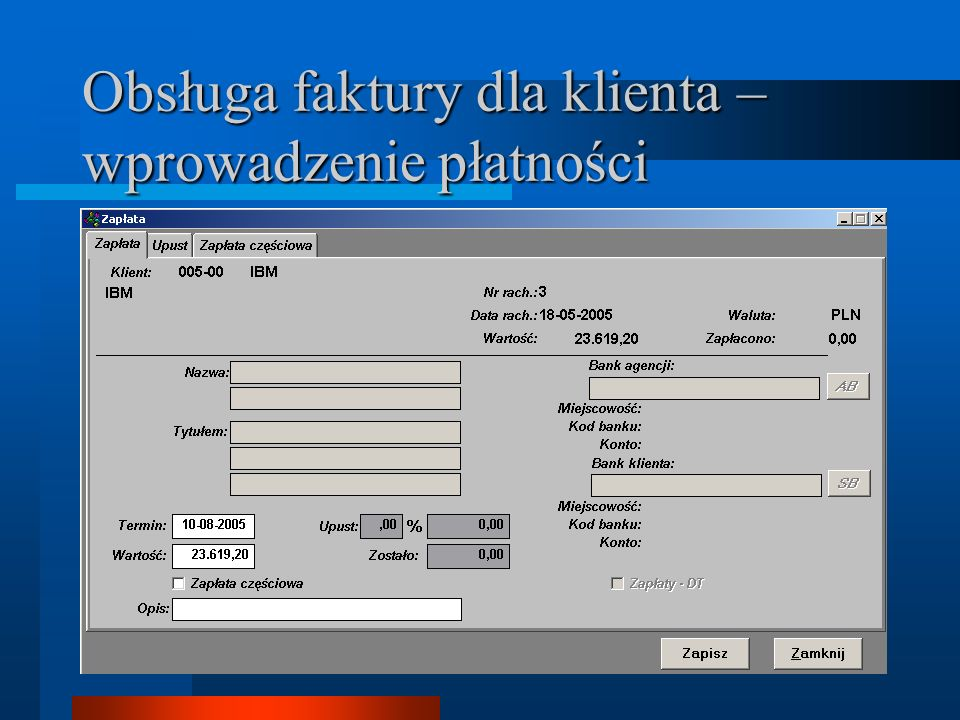 Obsługa faktury dla klienta – wprowadzenie płatności