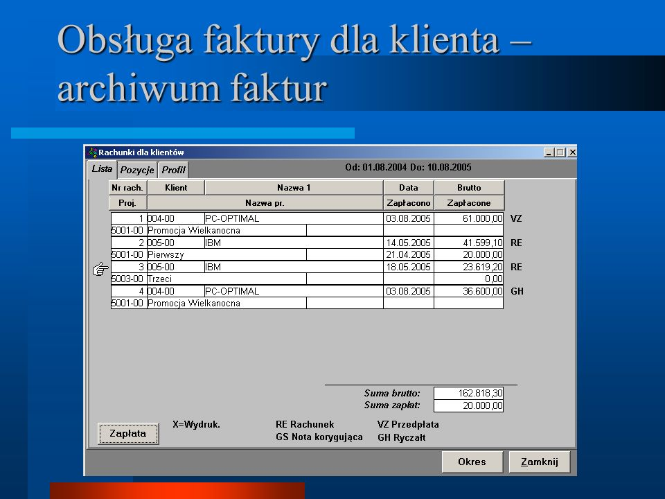 Obsługa faktury dla klienta – archiwum faktur