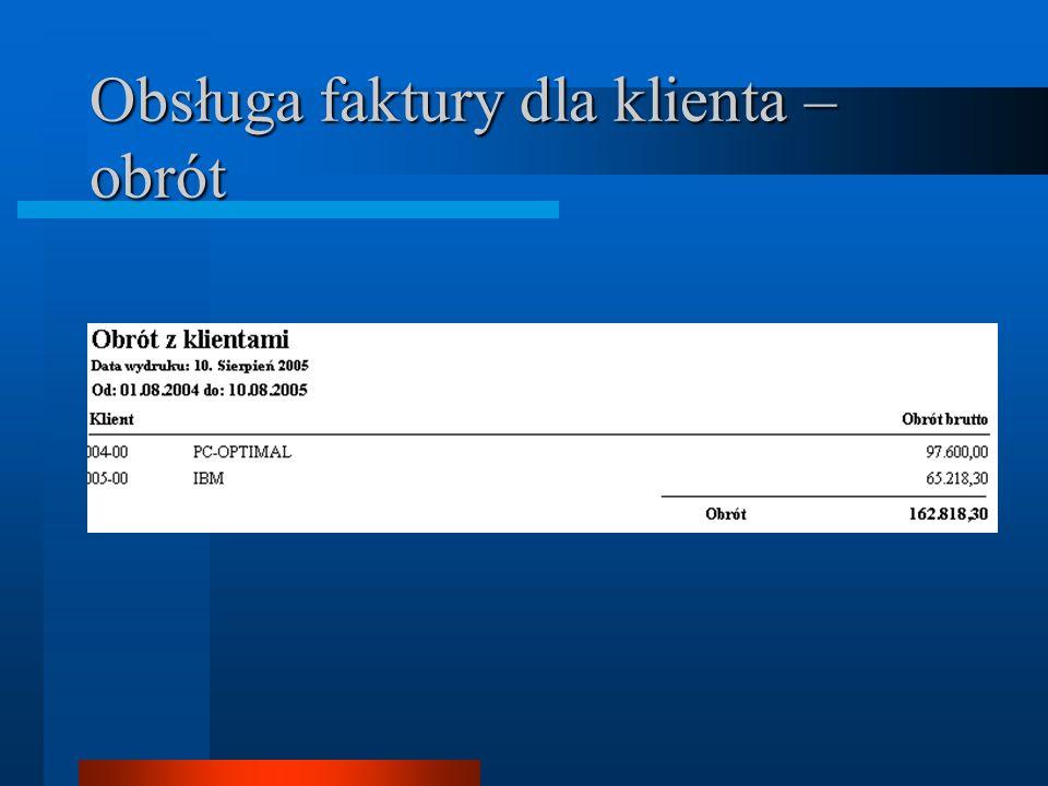 Obsługa faktury dla klienta – obrót