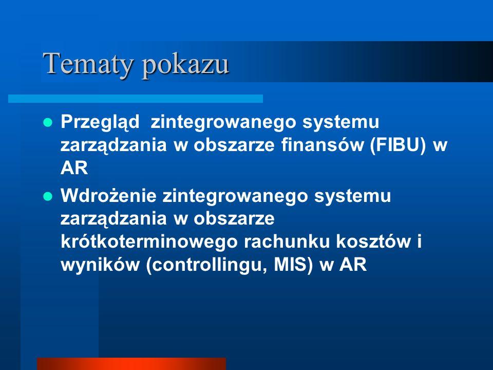 Tematy pokazu Przegląd zintegrowanego systemu zarządzania w obszarze finansów (FIBU) w AR.