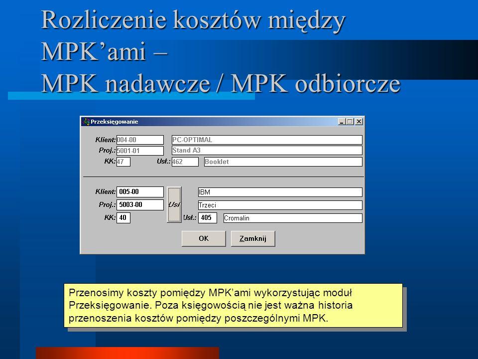 Rozliczenie kosztów między MPK'ami – MPK nadawcze / MPK odbiorcze