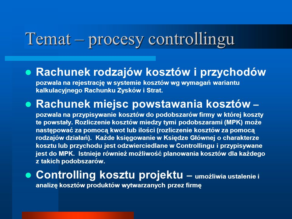 Temat – procesy controllingu