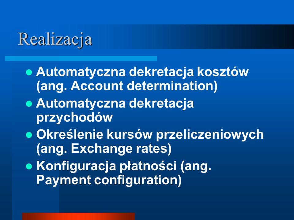 Realizacja Automatyczna dekretacja kosztów (ang. Account determination) Automatyczna dekretacja przychodów.