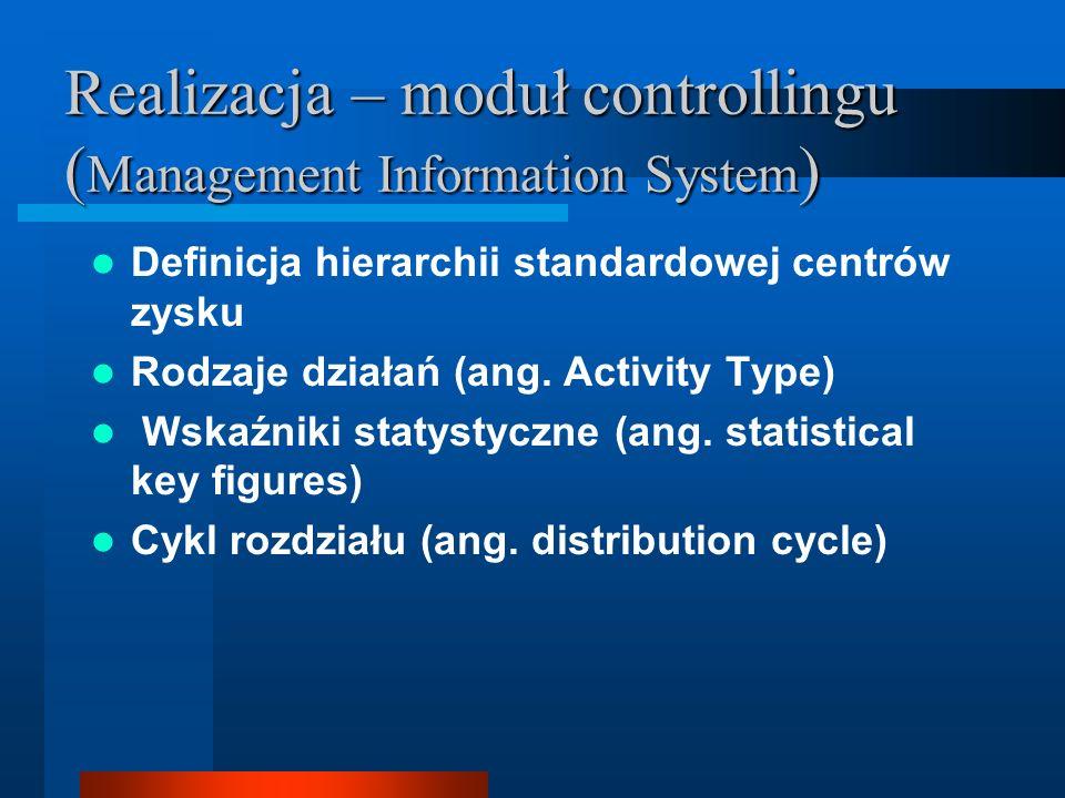 Realizacja – moduł controllingu (Management Information System)
