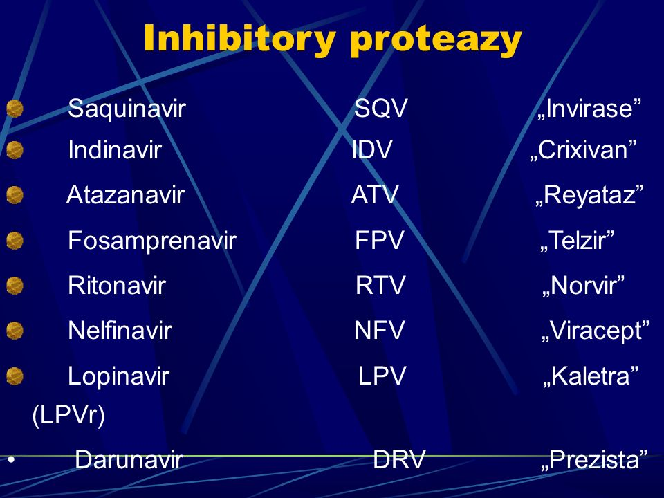 "Inhibitory proteazy Saquinavir SQV ""Invirase Indinavir IDV ""Crixivan"