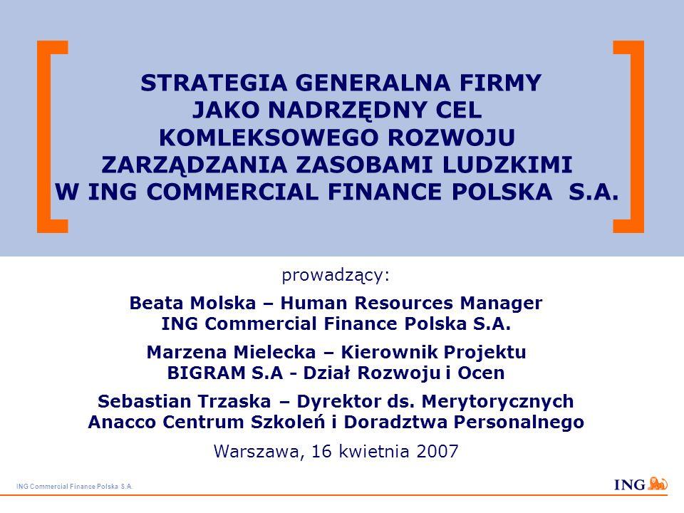 STRATEGIA GENERALNA FIRMY JAKO NADRZĘDNY CEL KOMLEKSOWEGO ROZWOJU ZARZĄDZANIA ZASOBAMI LUDZKIMI W ING COMMERCIAL FINANCE POLSKA S.A.