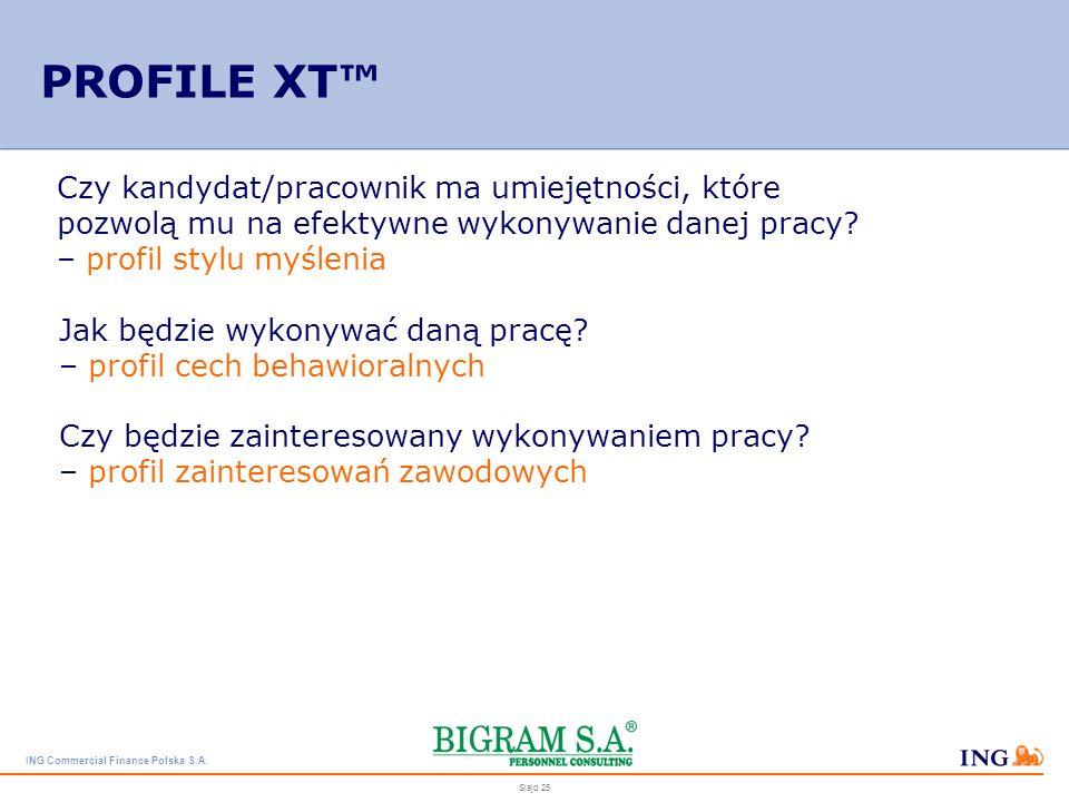 PROFILE XT™ Czy kandydat/pracownik ma umiejętności, które pozwolą mu na efektywne wykonywanie danej pracy – profil stylu myślenia.