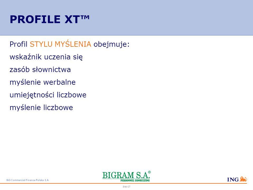 PROFILE XT™ Profil STYLU MYŚLENIA obejmuje: wskaźnik uczenia się