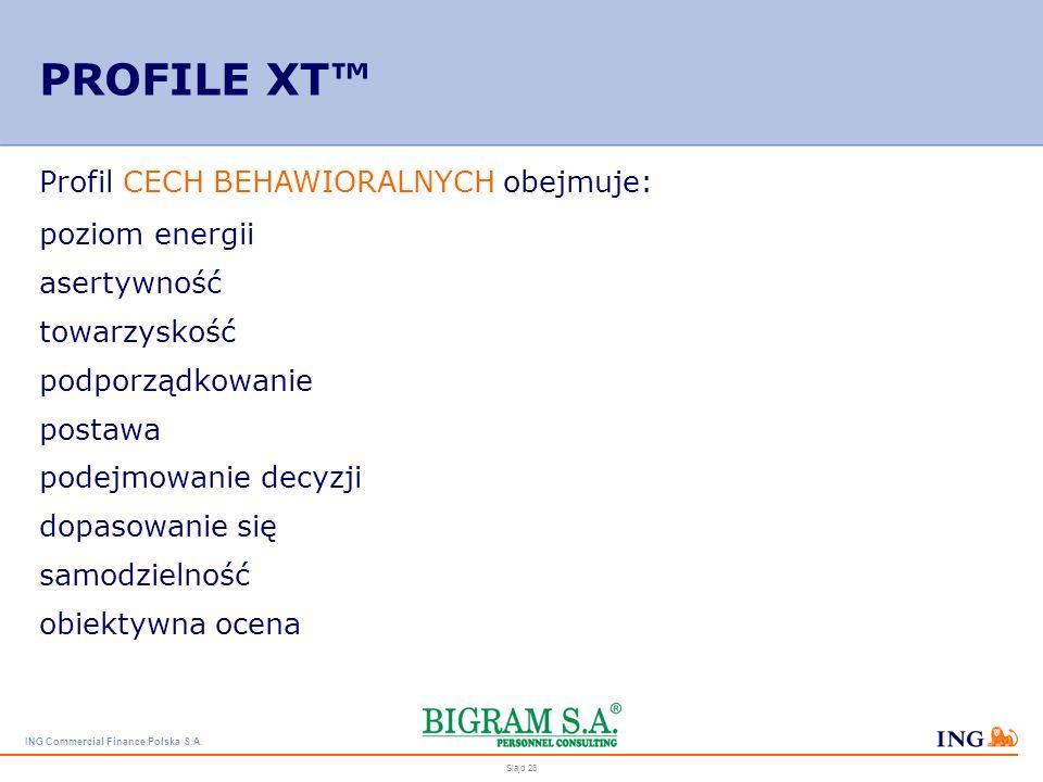 PROFILE XT™ Profil CECH BEHAWIORALNYCH obejmuje: poziom energii
