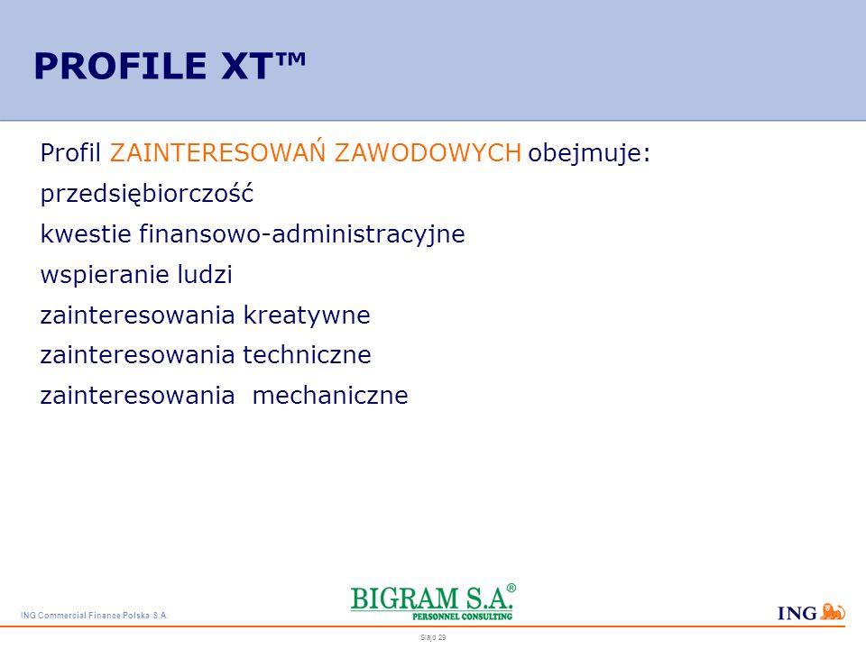 PROFILE XT™ Profil ZAINTERESOWAŃ ZAWODOWYCH obejmuje: