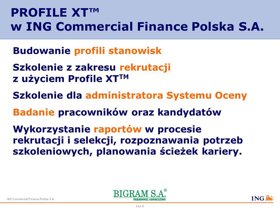 PROFILE XT™ w ING Commercial Finance Polska S.A.