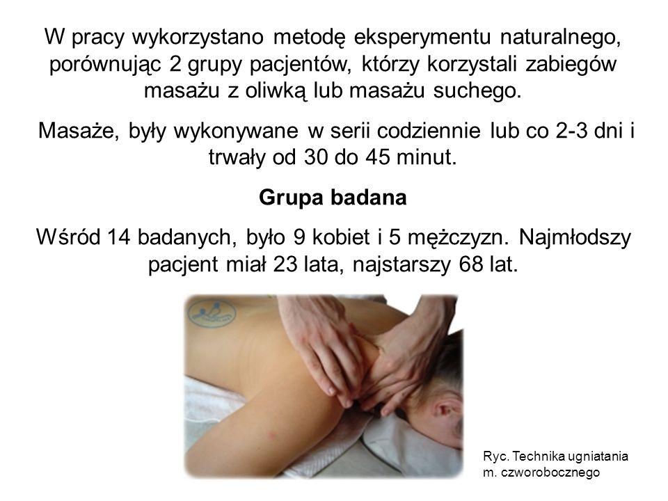 W pracy wykorzystano metodę eksperymentu naturalnego, porównując 2 grupy pacjentów, którzy korzystali zabiegów masażu z oliwką lub masażu suchego.