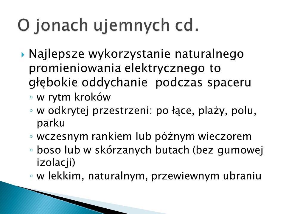 O jonach ujemnych cd. Najlepsze wykorzystanie naturalnego promieniowania elektrycznego to głębokie oddychanie podczas spaceru.